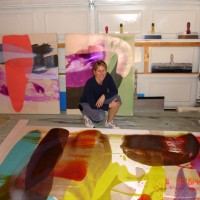 """Suspended Elation"" Paintings & Sara in Langley Studio 2005"
