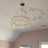 Master Bedroom ceiling painting of light fixture without light