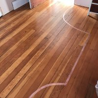Master Bedroom floor delineation in rose gold acrylic gel