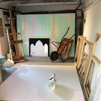 Studio Paintings in progress with related objects